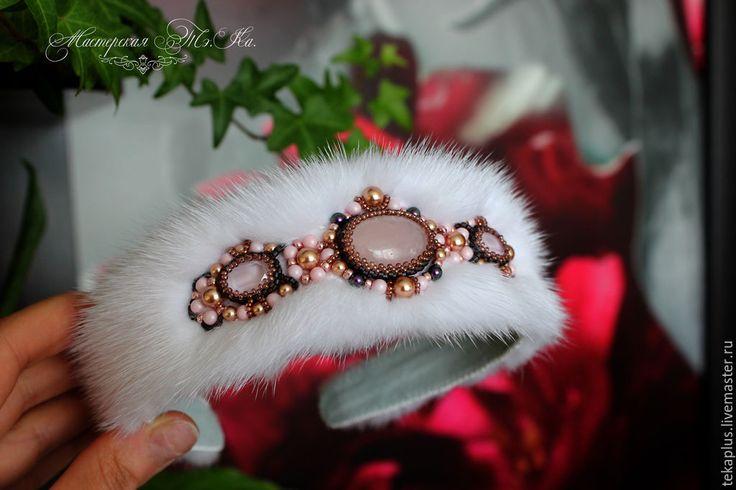 Купить Ободок из меха норки Рассвет - белый, розовый, розовый пастель, розовый кварц