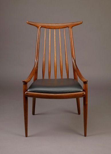 Exceptional Horn Back Chair With Spindle And Low Curving Arms, 1960; Sam Maloof