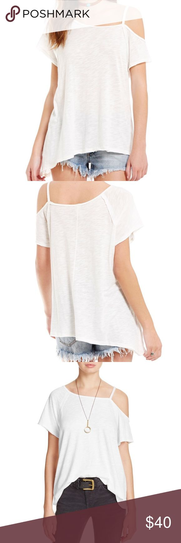 Free People asymmetrical tee, Never been worn!! Free People Coraline Cold Shoulder tee in white, size large. Brand new, never been worn aside from trying it on after ordering online!! I meant to order the medium but they honestly fit very similar. Super soft fabric and very comfortable! Free People Tops