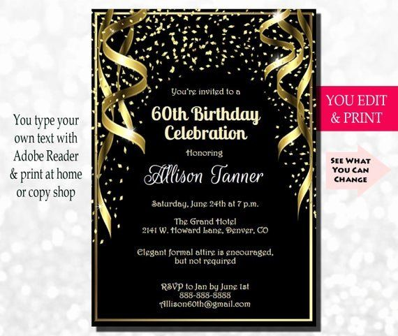60th Birthday Invitation Template Luxury 60th Birthday Invitation 60th 60th Birthday Party Invitations Birthday Party Invitation Wording Party Invite Template