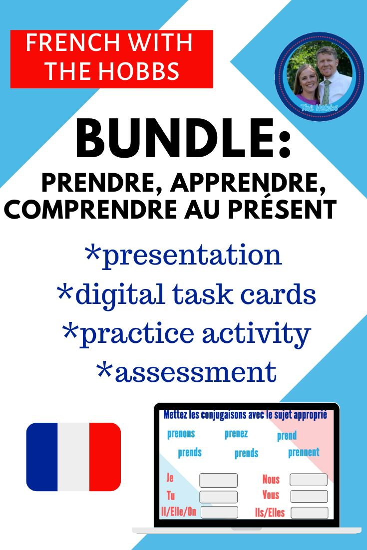 Prendre Bundle Present Practice Assess Task Cards Task Card Activities French For Beginners [ 1102 x 735 Pixel ]