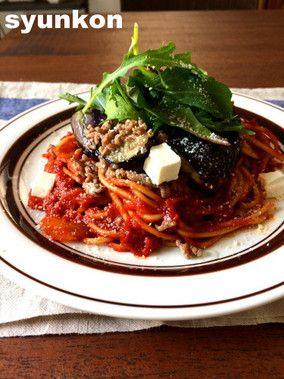 【簡単!!パスタ】なすとひき肉とチーズのトマトソーススパゲッティ*トマト缶でトマトソース|レシピブログ