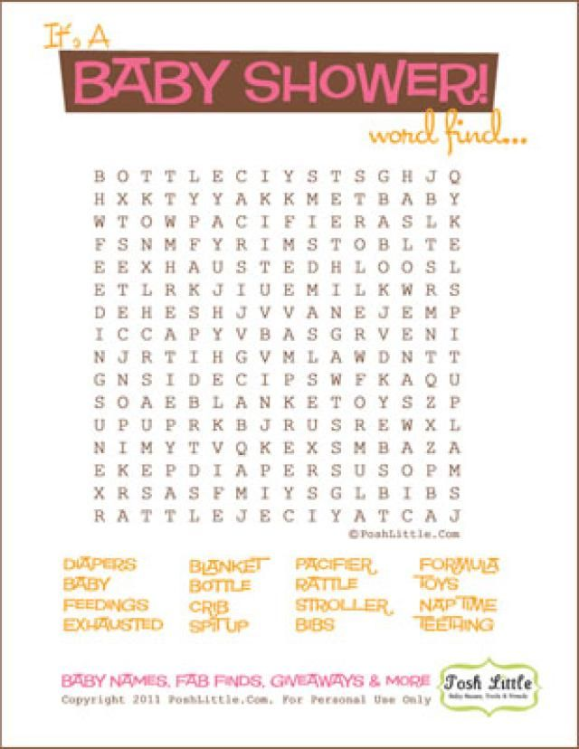 Free Baby Shower Word Search Puzzles