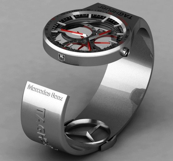 TAG-Heuer Formula 1 Mercedes Benz Watch concept has been designed aiming to align with the Formula 1 team, the McLaren-Mercedes, for which TAG-Heuer has been working as a watch brand for the last 25 years. This is why, the shape and appearance of the watch contains so much essence of Mercedes-Benz racing cars and Formula 1.