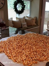 """Right at Home: { Baking Day } Cinnamon bun popcorn recipe. Previous pinner wrote, """"I made many batches of this for a Christmas Bazaar and it was awesome. I sold every bag and then had lots of orders. AWESOME!!!!"""""""