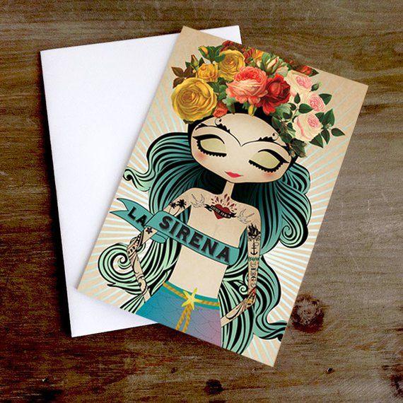 Little Frida's Dream Tattoo Mermaid La Sirena Greeting card, Blank Inside