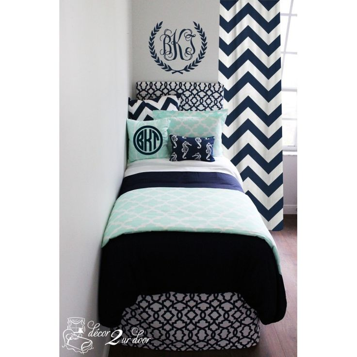 Mint & Navy Nautical Designer Teen Girl & Dorm Room Bedding Set. This year's top trends - nautical and mint. Monogram wall decal. Custom geomectric headboard, chevron window panel, designer bedskirt. Twin XL dorm bedding