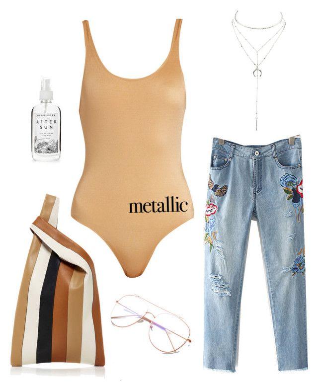 """metallic swimwear"" by szudi on Polyvore featuring Solid & Striped, Hayward, Herbivore, Charlotte Russe and metallicswimwear"
