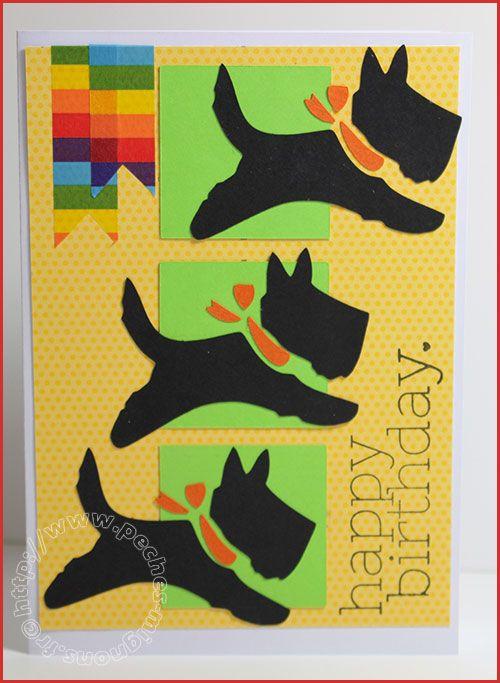 Carte Scrap #288 - Happy Birthday - Joyeux Anniversaire - chien
