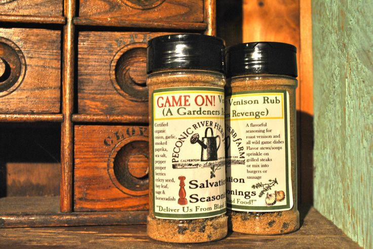 Game On! Venison Rub - A flavorful seasoning for roast venison and all wild game dishes; flavor stwes and soups; sprinkle on grilled steaks or mix into burgers or sausage. $7.95  Find it in the Outside In garden shop at the Peconic River Herb Farm! #deliverusfromblandfood #venisonrub #dryrub