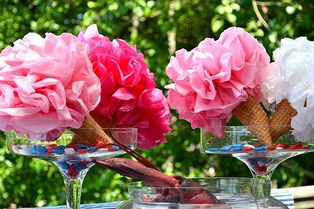 Cute table decoration: tissue paper ice cream cones