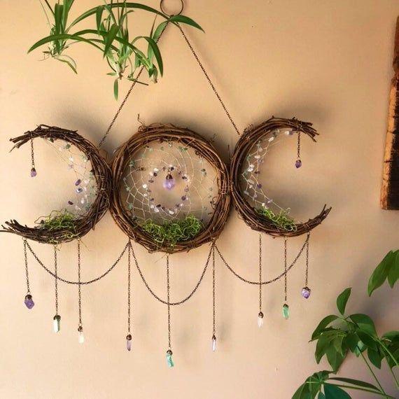 24″ Triple Goddess Moon Dreamcatcher | 3 Crystal Dreamcatcher |Amethyst Rose Quartz Green Aventurine