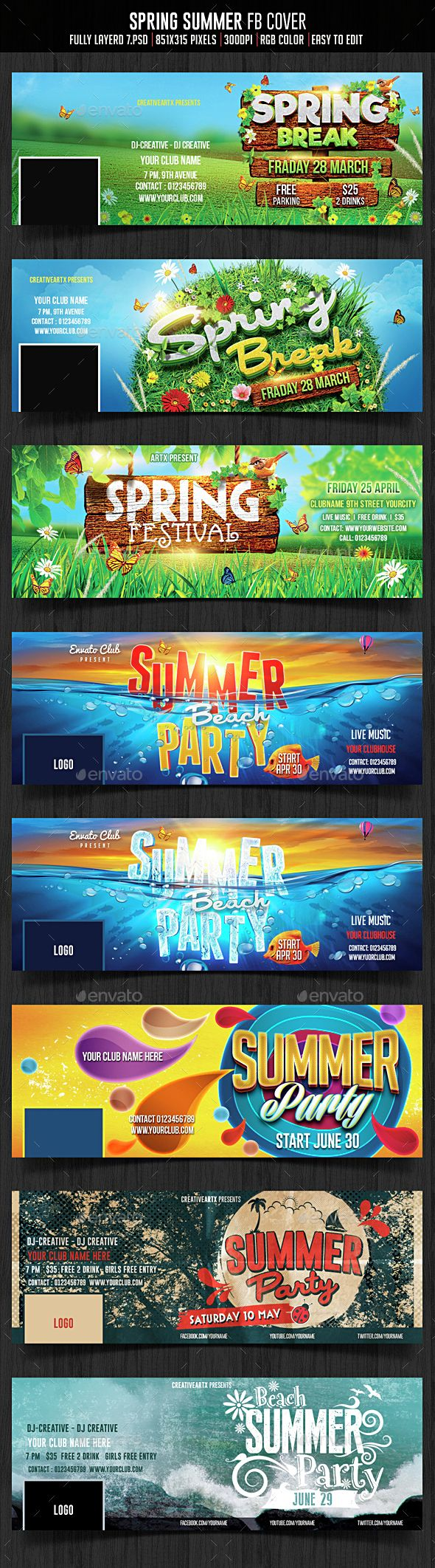 Spring Summer Facebook Cover Template PSD. Download here: http://graphicriver.net/item/spring-summer-facebook-cover/15174022?ref=ksioks