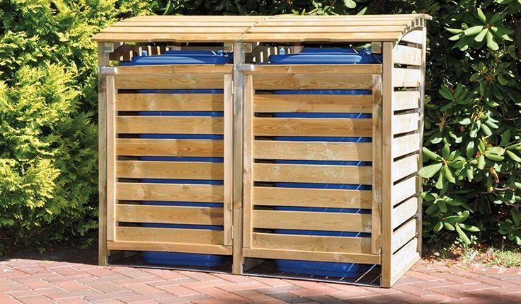 Die zweier Mülltonnen Box:150 x 90 x 120cm, Kiefer, druckimprägniert für bis zu 240 Liter Tonnen - 160€