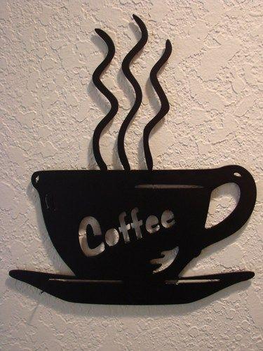 Steaming Cup of Coffee Plasma Cut Metal Wall Art  | Metalheadartdesign - Metal Craft on ArtFire