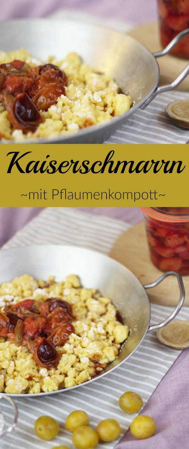 Rezept: Kaiserschmarrn mit frischem Plaumenkompott und Puderzucker - Leckere Süßspeise #rezept #pflaumen #kaiserschmarrn #kompott