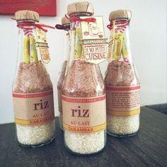 Quand on va déjeuner chez des amis j'aime bien emmener un petit cadeau fait maison. En ce moment c'est RIZ AU LAIT Je mets ma préparation des une bouteille de ketchup vide. recette rien de plus facile: -150 grs de riz rond -100 grs de sucre aromatisé...