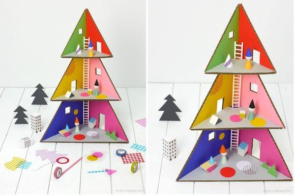 Božično drevo ali hiša iz kartonskih punčke | Baby - revija