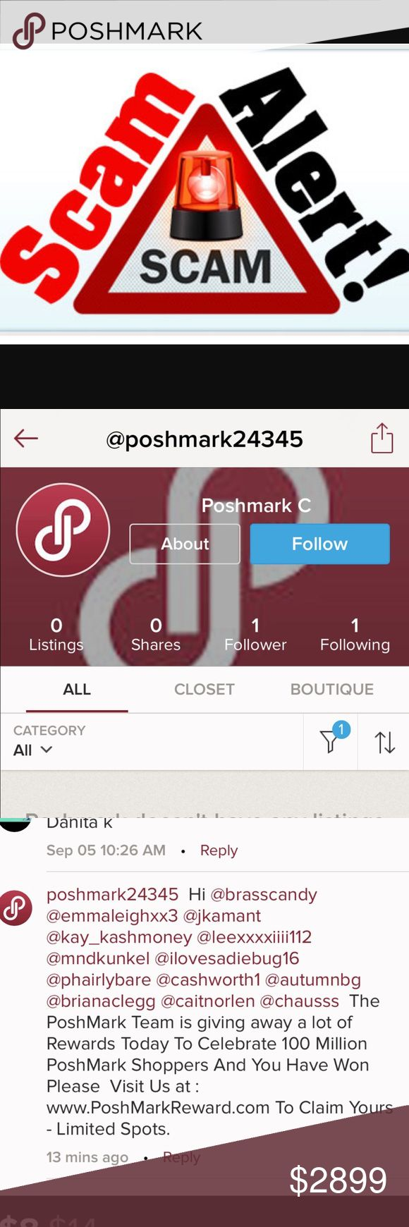"🚨SHARE THIS POST!!!🚨 🚨🚔 Please share this, tag your Poshmark bff's!! Report the accounts that are asking for your information outside of the poshmark platform! Use the arrow in the upper right hand corner to report all Scammers! These account have no followers, no information, no real name, no account history, and they're asking you for your info for ""FREE"" stuff. The ""happy customer"" testimonials aren't even listed accounts on PM! Be aware!!! Share. Share. Share! 🚔🚨 Shoes"