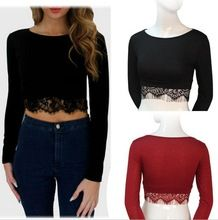 2015 New long sleeve tank tops fashion women lace T shirt ultrashort midriff round neck sexy Ladies cropped short tees crop tops(China (Mainland))