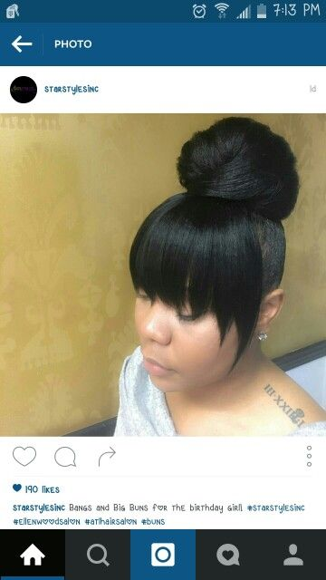 Top Knot Bun With Bangs