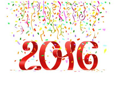 happy new year 2016 ribbon on white background with colored confetti