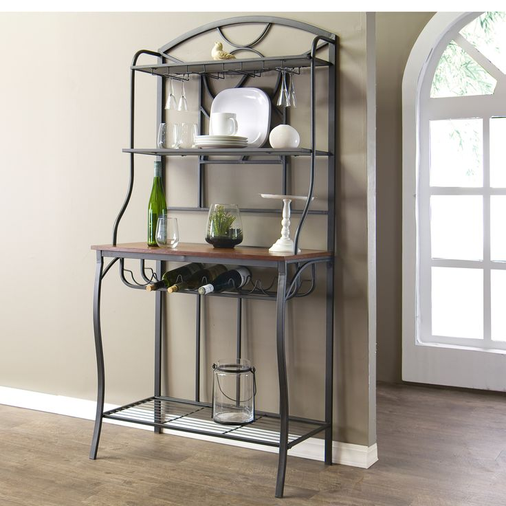 Baxton Studio Corsica Wood and Metal Transitional Baker's Rack