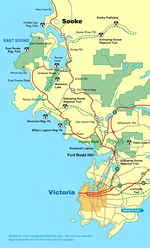 Map Victoria To Sooke Vancouver Island BC Canada