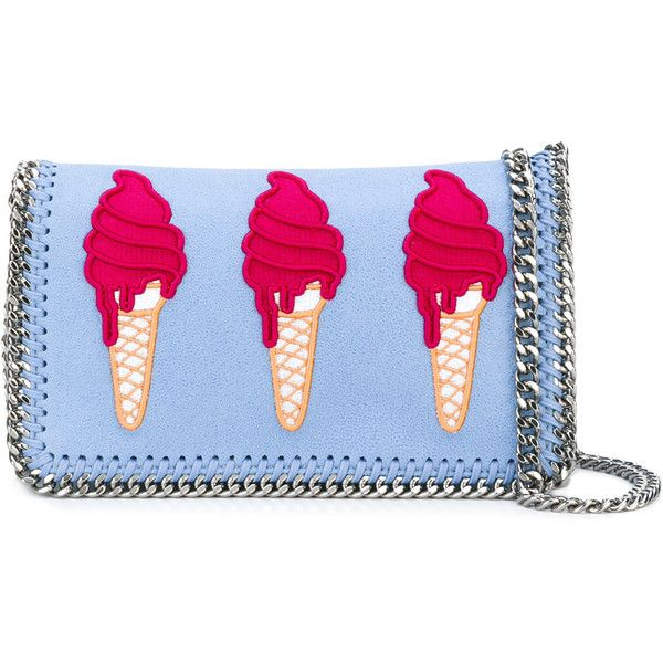 Stella McCartney ice-cream embroidered Surf Falabella bag ($478) ❤ liked on Polyvore featuring bags, handbags, shoulder bags, blue, blue bag, blue purse, embroidery handbags, stella mccartney handbags and embroidered purse