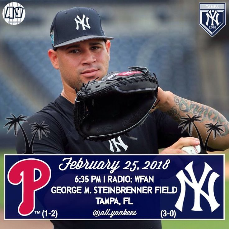 #Yankees take on the #Phillies tonight in a #SpringTraining game. Sonny Gray gets he start. #allyankees0226