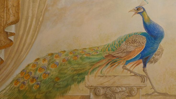 Fresco of peacock at Quisisana Palace