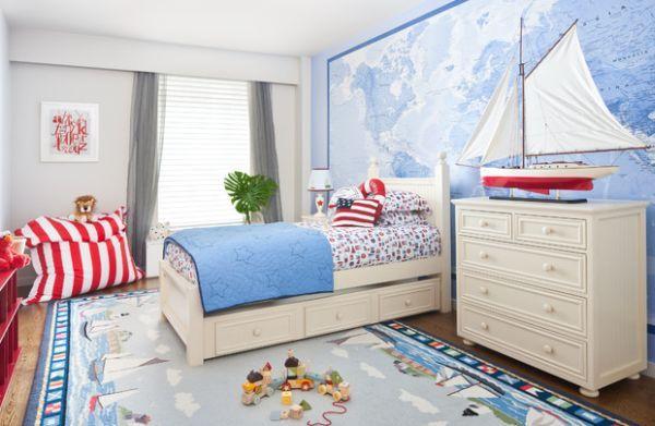 Nautisches Kinderzimmer Jungs-Einrichtung Wandgestaltung-Ideen