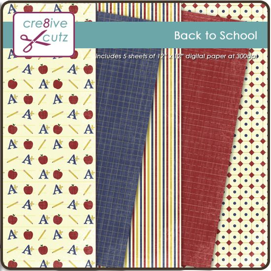 """Cute Back to School digital paper pack. Includes 5 12"""" x 12"""" sheets of digital paper at 300 dpi."""