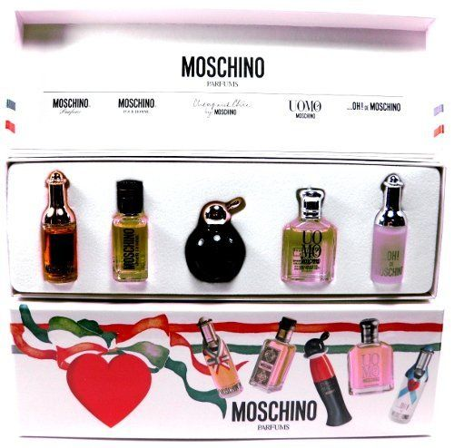 Moschino Parfums 5 Piece Mini Perfume Collection Gift Set by MOSCHINO. $25.85. Cheap and Chic by Moschino Eau De Toilette .16 oz / 4.9ml. Moschino Eau De Toilette .13 oz / 4ml. Oh! de Moschino Eau De Toilette .13 / 4ml. Moschino Pour Homme Eau De Toilette .17 oz / 5ml. Uomo Moschino Eau De Toilette .15 oz / 4.5ml. Moschino Mini Perfume Gift Set Collection