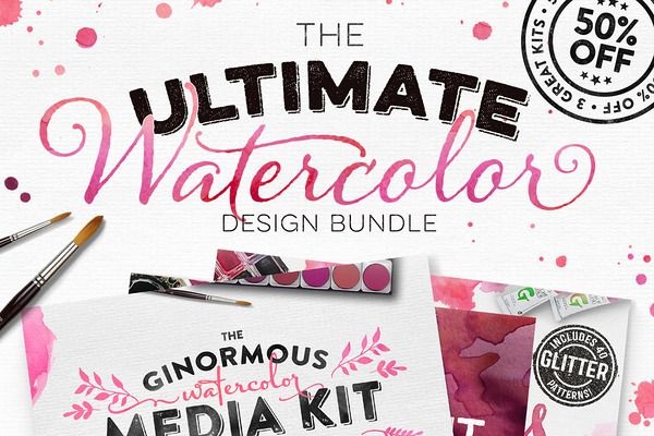 The Ultimate Watercolor Bundle - Graphics - 1