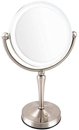 Ovente LED Lighted Tabletop Makeup Mirror, 1x/10x Magnification, 7.5 Inch, Nickel Brushed
