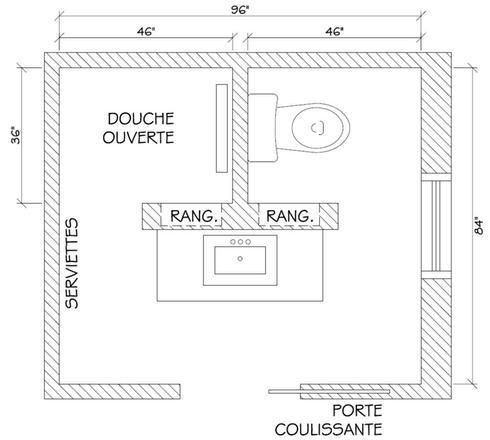 Sink In Front Of Shower And Toilet 96 Is 244 84 Is 215 Petite Salle De Bain Plan Salle De Bain Salle De Bain 4m2