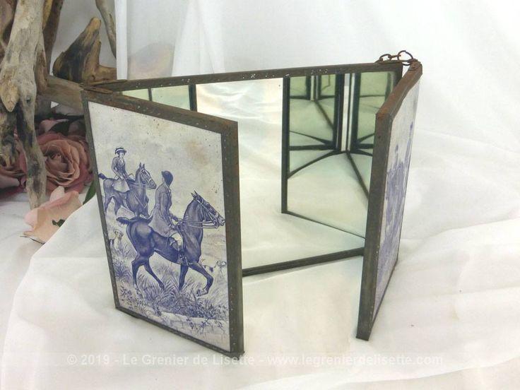 VENDU – Ancien petit miroir triptyque de barbier décor bleu