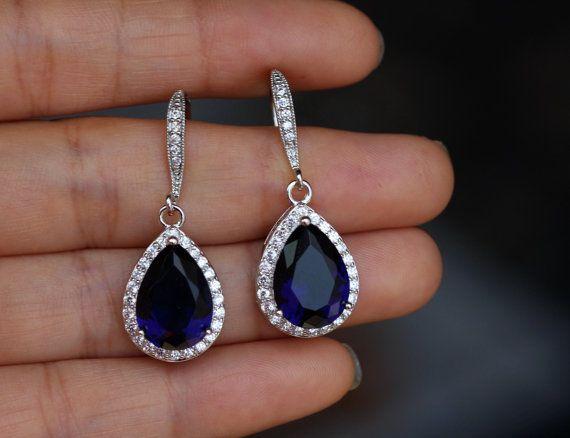 Dunkler Saphir blau Ohrring Saphir cz Ohrring drop von arbjewelry