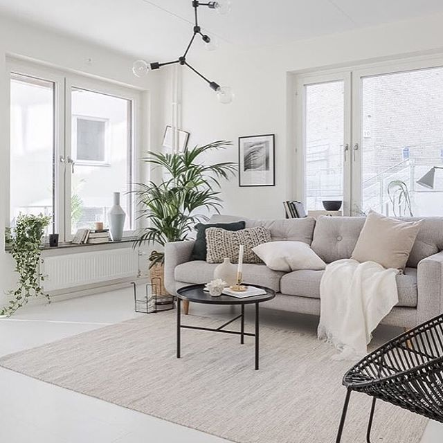 Obsessed with this living room styled by @widadesignfrida  the calm neutral tones, the texture in that chunky knit cushion and I think I need to own that lamp