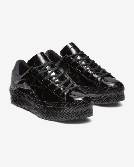 490b86f2363398 Converse One Star Platform Patented  90s Leather Low Top Women s Shoe