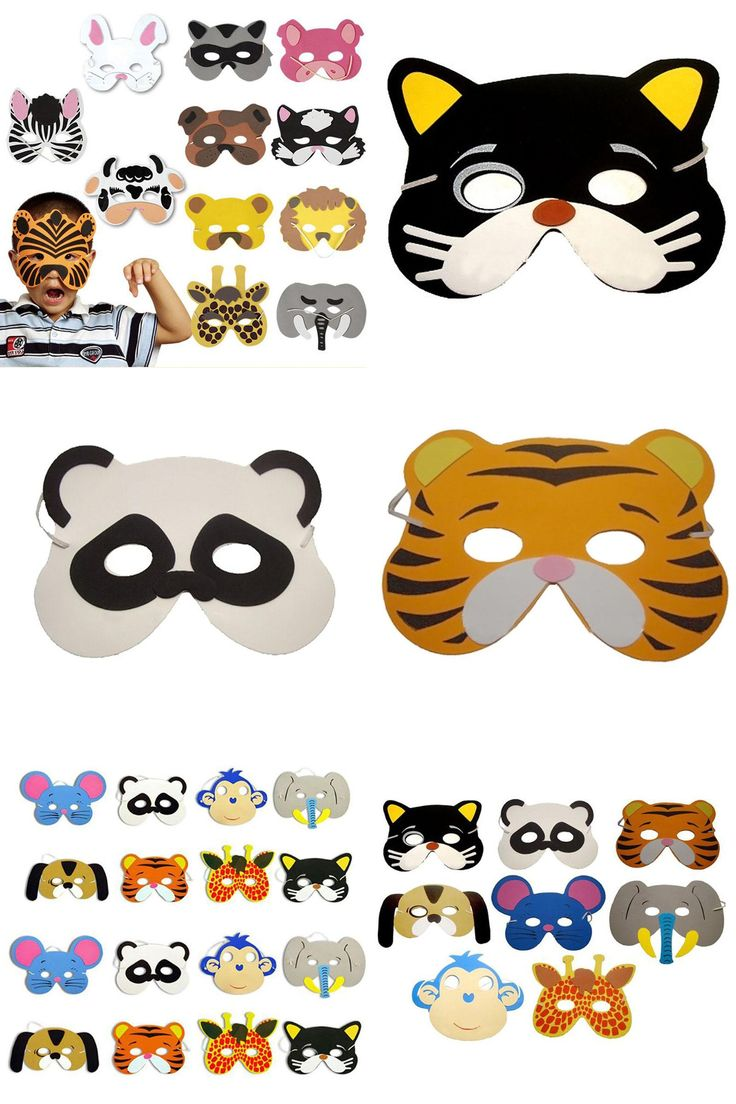 [Visit to Buy] E74 Nice 1 set/12Pcs Animal Head Mask for Cosplay halloween costume for Children Zoo Party Supplies mascaras de paintball #Advertisement