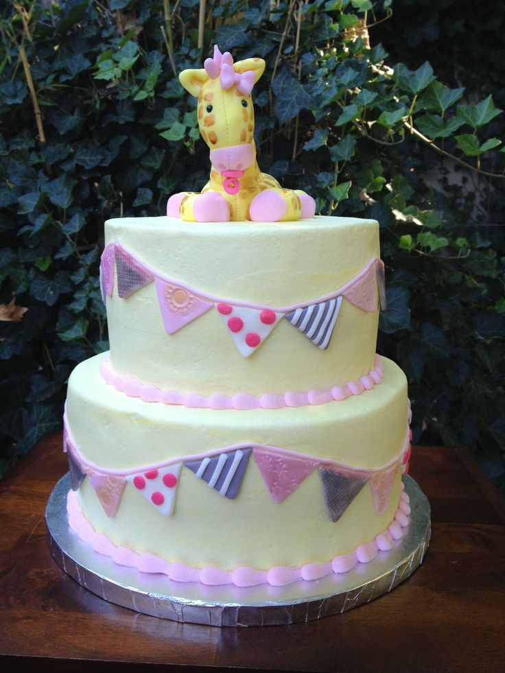 Giraffe Baby Shower Cake With Pennant Banners!