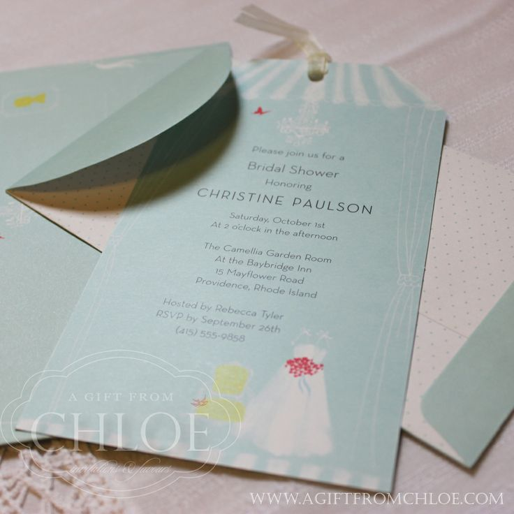 Bridal Boutique Invitation with bridal gown and