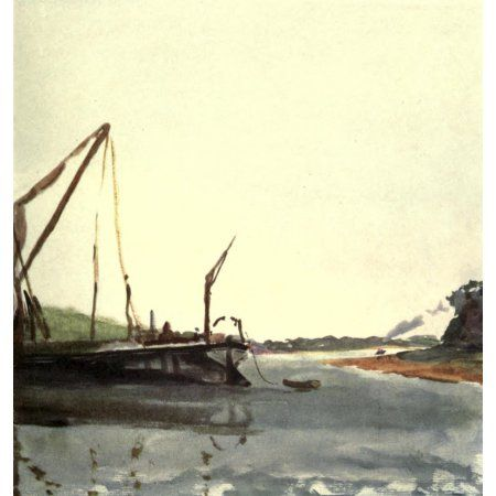 A Floating Home 1918 River Orwell Essex Canvas Art - Arnold Bennett (18 x 24)