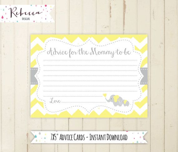 advice for the mommy to be printable yellow elephant advice card baby shower advice baby shower game little peanut baby shower neutral by RebeccaDesigns22