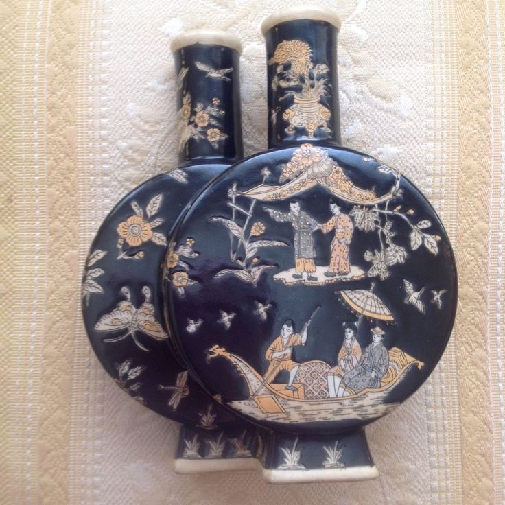 Porcelain Double Moon Flask Chinese Black/Tan Hand Painted Vintage Vase Figural