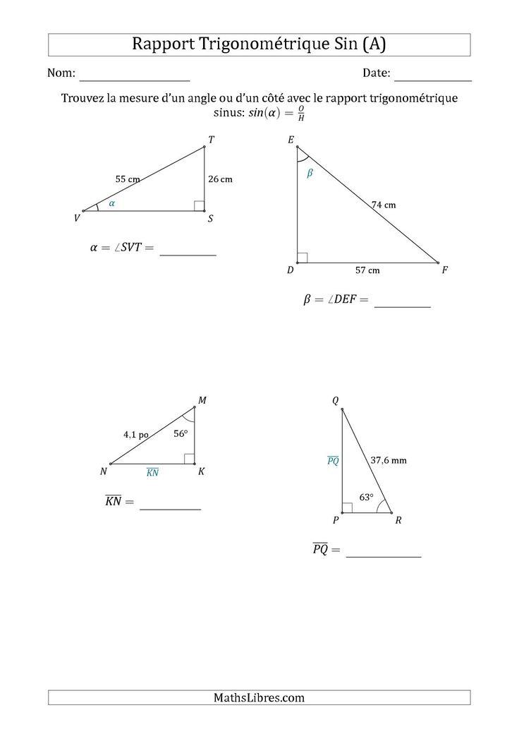 La Calcul de la Mesure d'un Angle ou d'un Côté Avec le Rapport Trigonométrique Sinus (A) Fiche d'Exercices sur la Géométrie