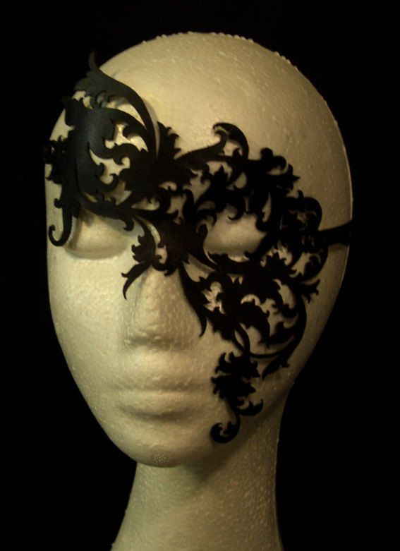 Black Leather Lace Mask - Poison Ivy Costume. way too expensive love the design