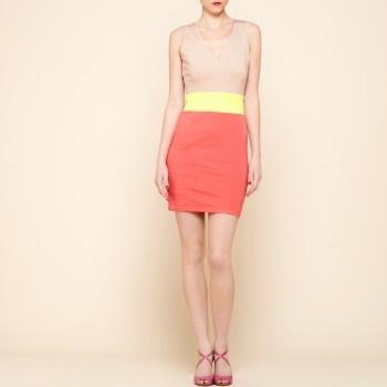 Beige / roze / gele jurk
